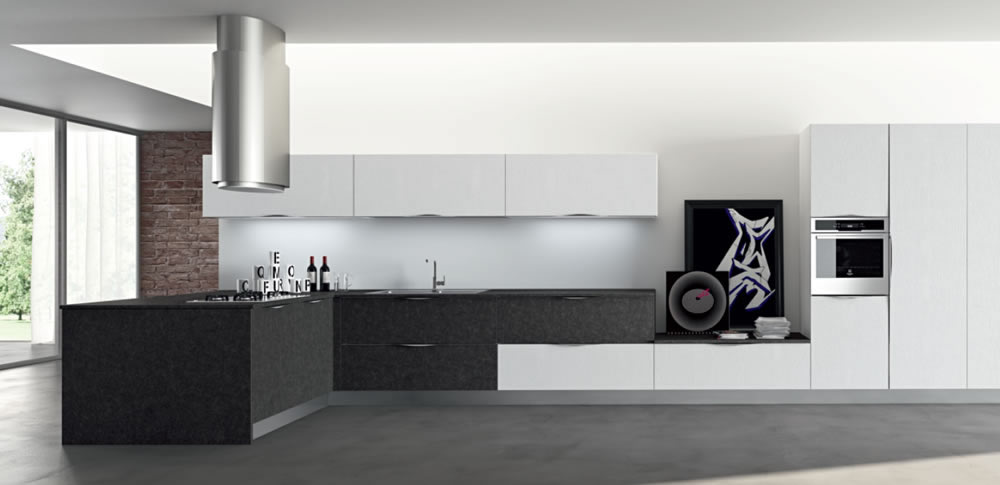 Perfect moon with cucine moderne bianche e nere - Piastrelle rosse lucide ...